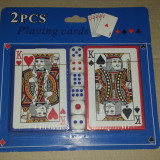 Set table - SET CART DE JOC + 6 ZARURI. ZAR 1 cm. POKER. Pachet CARTI DE JOC PLASTICATE. . Produs Nou. SIGILAT