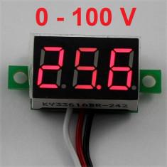 Indicator - Voltmetru digital 0-100 V - DC, auto alimentat, LED Rosu, red