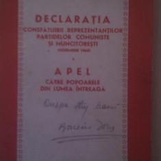 Carte Epoca de aur - DECLARATIA CONSFATUIRII REPREZENTANTILOR PARTIDELOR COMUNISTE SI MUNCITORESTI NOEMBRIE 1960 APEL CATRE POPOARELE DIN LUMEA INTREAGA
