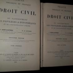 Traite theorique et pratique de DROIT CIVIL du NANTISSEMENT des PRIVILEGES & HYPOTHEQUES et de L EXPROPRIATION FORCEE, 1899 - Carte Drept civil