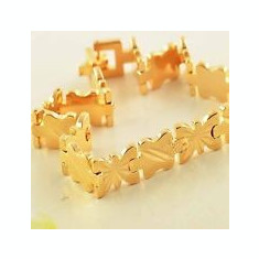BRATARA DAMA AUR FILAT 14 K CU MODEL (68) - Bratara placate cu aur, Unisex