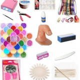kit / set manichiura , lampa uv unghii false sclipici , bilute , catifea gel uv