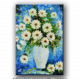 Vaza cu flori (1) - tablou ulei in cutit - 60x40cm LIVRARE GRATUITA 24-48h