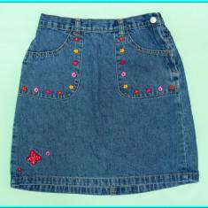 DE FIRMA _ Fusta blugi, cu broderie florala, impecabila, H&M _ fete | 9 - 10 ani, Culoare: Albastru