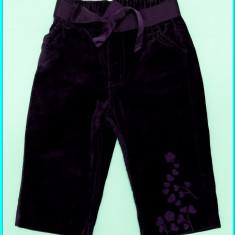 DE FIRMA _ Pantaloni brodati, catifea neteda, ca noi, H&M _ fete | 9 - 12 luni +, Culoare: Mov