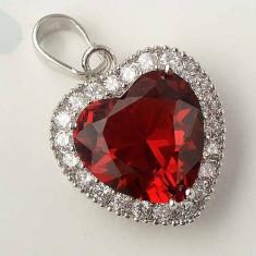 Lantisor aur - Lantisor cu Pandantiv superb inima Rubin si zirconiu filat Aur 9k - FL01