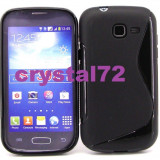Livrare gratuita! Husa termorezistenta silicon-gel TPU neagra pentru Samsung Galaxy Trend Lite Duos S7392 + folie ecran + laveta, calitate