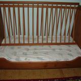 Patut din lemn + saltea - Patut lemn pentru bebelusi, 120x60cm