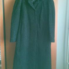 Palton dama, Negru, Marime: 50, Piele - Palton astrahan din blana naturala marimea 50, este nou!