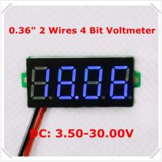 Voltmetru digital cu leduri albastre, 3.5-30 V, foarte precis, 4 digit, 2 fire