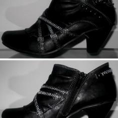 Botine pantofi dama MUSTANG 36 casual elegante fete femei transport inclus - Botine dama, Culoare: Negru