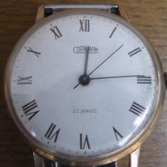Ceas barbatesc, Lux - elegant, Mecanic-Manual, Placat cu aur, Inox, Analog - Ceas placat cu aur / Cornavin 23jewels / mecanic / super-plat