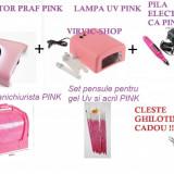 SET KIT APARATURA UNGHII FALSE : LAMPA UV 36 w PINK + FREZA/PILA UNGHII FALSE ELECTRICA PINK+ ASPIRATOR UNGHII FALSE PINK+ GEANTA PINK + PENSULE ACRIL