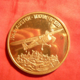 Placheta Avion Auster - Israel, bronz aurit cu insertie argint, 2001, d= 5 cm