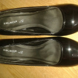 Pantofi lac negri business - Pantofi barbati, Marime: 38, Piele sintetica, Negru