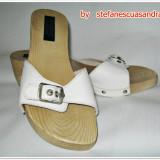 Papuci dama - Papuci Agressione din piele si talpa de lemn nr 36