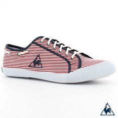 Tenisi Le Coq Sportif Deauville Stripes originali - tenisi barbati - panza - adidasi Le Coq Sportif - in cutie - 44(28cm), Culoare: Rosu, Textil