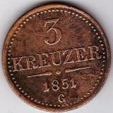 Transilvania Ungaria Austria SUPERRARITATE 3 Creitari, Krajczar, Kreuzer 1851 G = Baia Mare, COTATIA INCEPE LA 65 euro !!!