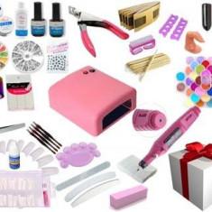 Mega kit manichiura unghii false gel si lampa UV, Pila electrica, Primer, Top Coat, Accesorii + CADOU - CALITATE GARANTATA!