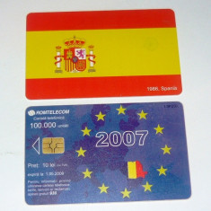 Cartela telefonica - INTRAREA IN UNIUNEA EUROPEANA - STEAGURI - SPANIA - 2007 - 2+1 gratis pt produse la pret fix - RBK4474 - Cartela telefonica romaneasca