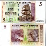 Bancnota Straine, Africa - ZIMBABWE 5 DOLARI 2007 UNC