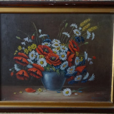 Tablou original Kusovsky-Flori in vaza-Ulei pe carton, cu rama-dim 55x45 cm - Pictor strain