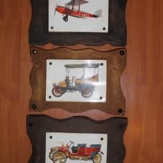 Lot 3 Tablouri vechi cu Masini de epoca din anii 1900 (Tablou de colectie.DE DION BOUTON 8 H.P. 1902, BRIXIA ZUST 1908 10 HP, DE HAVILLAND MOPH D.H. 60) - Tablou autor neidentificat