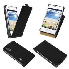 Husa LG Optimus L5 E610 Flip Case Slim Inchidere Magnetica Black, Negru, Piele Ecologica, Toc, Cu clapeta