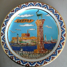 Portelan, Decorative - Farfurie DECO - suvenir RODHOS (placata cu AUR 24K)