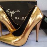 Pantofi dama - Pantofi stiletto Giuseppe Zanotti MIRROR GOLD - PE STOC - Super Promotie!!!