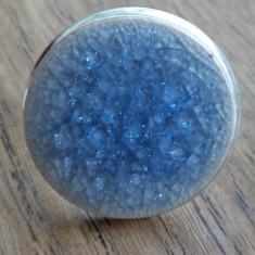 Inel baza argintie cu cabochon ceramica vitrificata bleu ciel