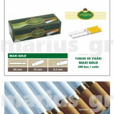 MAXI GOLD 200 - Pachet 10 cutii tuburi de tigari x 200 buc pentru tutun, 2.000 - Foite tigari