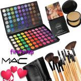 Trusa machiaj farduri fard 120 culori nuante MAC + 15 pensule make up Bobbi Brown + Pudra Studio Fix MAC dubla - Trusa make up