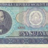 ROMANIA- 100 LEI 1966- seria A 0203- 447820