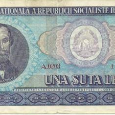 Bancnote Romanesti - ROMANIA- 100 LEI 1966- seria A 0203- 447820