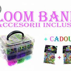 Kit Complet - LOOM BANDS - 4000 Bratari elastice de silicon - ACCESORII INCLUSE + CADOU 2 seturi elastice! - Bratara silicon