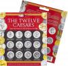 Monede Antice - Set Pliant 12 monede Romane - Julius Caesar, Augustus Tiberius Caligula Claudius Nero Galba Otho Vitellius Vespasian Titus Domitian - Cadou Colec