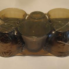 Set 6 cesti din sticla fumurie termorezistenta