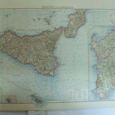 Harta color Sicilia si Sardinia Leipzig 1899 - Harta Italiei