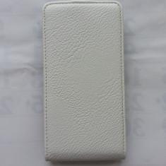 Husa Eleganta TOC FLIP Piele ALLVIEW P5 Quad + Folie Protectie Display CADOU - Husa Telefon Allview, Alb, Piele Ecologica, Cu clapeta