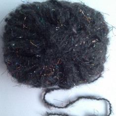 Fire - Fir de tricotat sau crosetat, de efect, tip mohair pufos si moale, cu lurex, negru