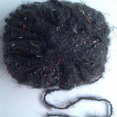 Ata - Fir de tricotat sau crosetat, de efect, tip mohair pufos si moale, cu lurex, negru