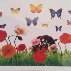 Sticker - autocolant decorativ de perete iarba si fluturi 2