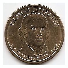 Statele Unite (SUA) 1 Dolar 2007 Comemorativa: Thomas Jefferson, KM-403 aUNC, America de Nord