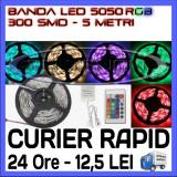 ROLA BANDA 300 LED - LEDURI SMD 5050 RGB - 5 METRI, IMPERMEABILA (WATERPROOF), FLEXIBILA - CONTROLER SI TELECOMANDA INCLUSE ZDM