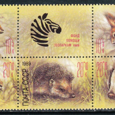 !!! RUSIA - ANIMALE SALBATICE 1989 - BLOC NEUZAT - Timbre straine