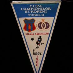 Fanion fotbal - PENTRU UN FAN STEAUA BUCURESTI - FANION - STEAUA BUCURESTI - SC ANDERLECHT - CUPA CAMPIONILOR EUROPENI - 05 NOIEMBRIE 1986