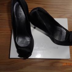 Pantofi cu toc eleganti ! - Pantof dama Benvenuti, Marime: 38, Culoare: Negru, Textil