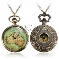 Ceas De Buzunar Stil RETRO VINTAGE ANTIC Avand ca Tema Harta Globului Pamantesc Pe Cadran