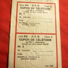 Pasaport/Document - Cupoane de Calatorie cu 50% reducere pt. copii si studenti -1941-1942